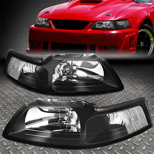 For 99 04 Ford Mustang Black Housing Clear Corner Headlight Replacement Lamps