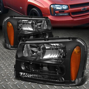 For 02 09 Chevy Trailblazer Ext Black Housing Amber Corner Headlight Head Lamps