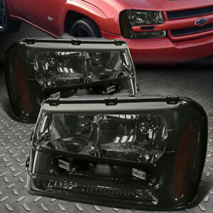 For 02 09 Chevy Trailblazer Ext Smoked Housing Amber Corner Headlight Head Lamps