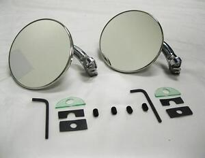 Chrome 4 Universal Door Edge Peep Mirrors W Short Arm Retro Street Rod Pair