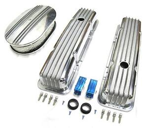 58 86 Chevy Polished Aluminum Finned Valve Covers 12 Air Cleaner Kit Sbc 350