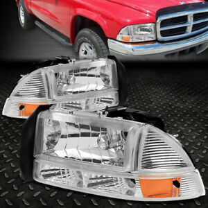 For 97 04 Dodge Dakota Durango Chrome Housing Amber Corner Headlight Bumper Lamp