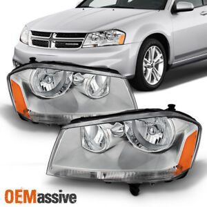 Fit 2008 2013 Dodge Avenger Replacement Headlights Headlamps L R 2009 2010