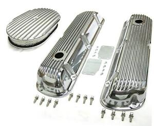 Sbf Ford 289 302 Finned Retro Aluminum Valve Covers 12 X 2 Air Cleaner Kit