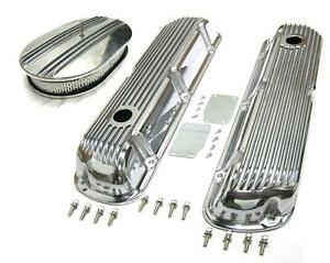 Sbf Ford 289 302 351w Finned Retro Aluminum Valve Covers 12 Air Cleaner Kit