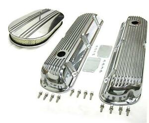 Sbf Ford 289 302 351w Finned Retro Aluminum Valve Covers 15 Air Cleaner Kit