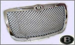 Fits 05 2010 Chrysler 300 Chrome Grille Mesh Grill W bentley B Emblems Badges