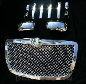 Fits 2005 2010 Chrysler 300 Chrome Mesh Grille Handle Mirror Cover Trim Package