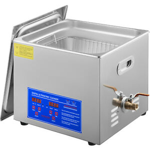 New Stainless Steel 15 L Liter Industry Heated Ultrasonic Cleaner Heater W timer