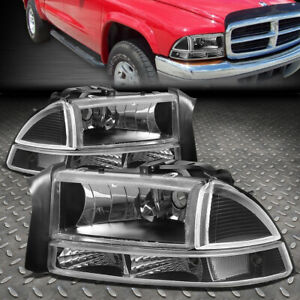 For 97 04 Dodge Dakota Durango Black Housing Clear Corner Headlight Bumper Lamp