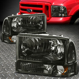 For 99 04 Ford F250 F350 Super Duty Smoked Housing Amber Corner Headlight Lamps