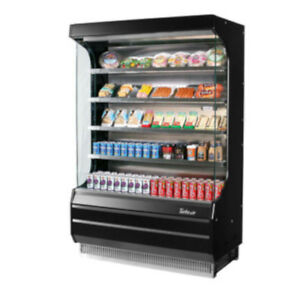 Turbo Air Tom 40b Black Vertical Open Display Case Cooler Full Height