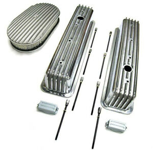 Sbc 350 Chevy Tall Polished Aluminum Finned Valve Covers 15 Air Cleaner Kit
