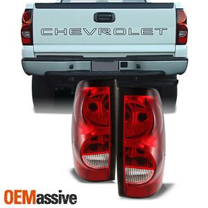 Fit 03 06 Chevy Silverado Pickup Red Clear Tail Lights Replacement