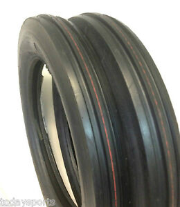 Two 4 00 19 400 19 400x19 F 2 Tri 3 Rib Front Tractor Tires W tubes Ford 8n 9n