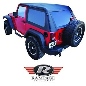 Rampage Frameless Trail Top W Tint 2007 2018 Jeep Wrangler Jk 2 Dr 109935 Black
