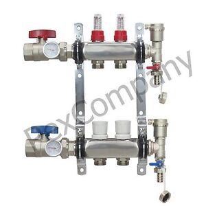 2 Loop port Stainless Steel Pex Manifold Radiant Heating