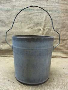 Vintage Galvanized Metal Bucket Rare Handle Antique Old Iron Pail Pot 9383