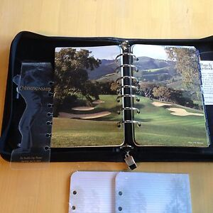 Franklin Covey Day Planner Binder 9 X 11 black 7 ring golf Edition