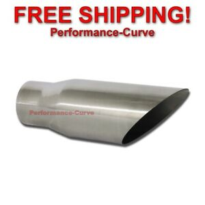Stainless Steel Round Angle Cut Exhaust Tip 3 Inlet 4 Outlet 12 Long