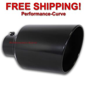 Black Diesel Stainless Steel Bolt On Exhaust Tip 5 Inlet 10 Out 18 Long