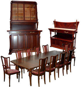 C 1900 Art Nouveau Mixed Wood Dining Set By Hector Guimard France 1179