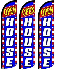 Open House Windless Standard Size Swooper Flag Sign Banner Pk Of 3