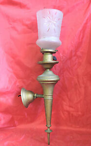Antique Brass Torch Wall Sconce Light Fixture With Victorian Etched Glass Shade