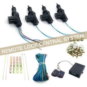 4 Door Power Central Car Lock Kit With 2 Remote Controls For Keyless Entry