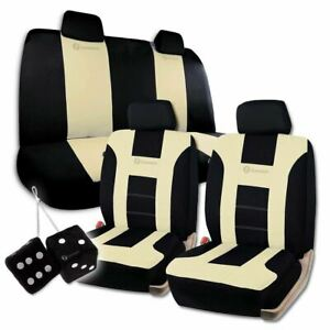 Zone Tech Universal Fit Beige black Racing Style Car Seat Covers And Dice Set