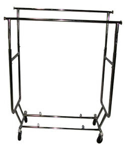 Commercial Folding Clothing Utility Rack Garment Display Chrome Lot Of 10 New