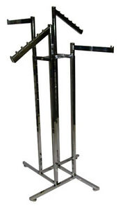 4 way Clothing Display Rack Square Tube 2 Faceout 2 Waterfall Arms Lot Of 10 New