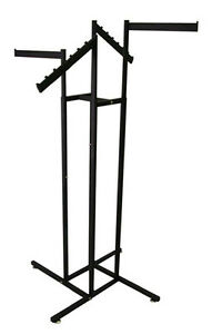 4 way Clothing Display Garment Rack 2 Faceout 2 Waterfall Arm Black Lotof 10 New
