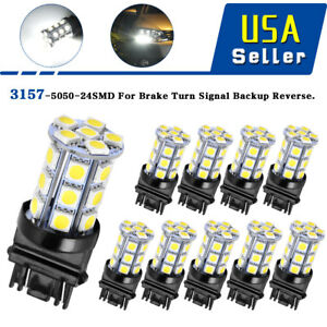 10x 6000k White 3157 3156 5050 24 Smd Led Turn Signal Stop Light Bulbs 3057 4157