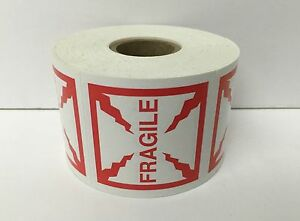 500 Small Labels 2x2 Red And White Fragile Shipping Mailing Warning Stickers