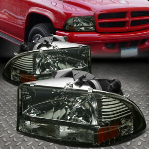For 97 04 Dodge Dakota Durango 1pc Smoked Lens Amber Corner Headlights Headlamps