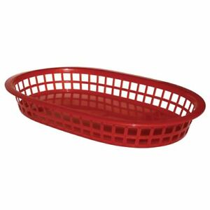 6x Olympia Polypropylene Oval Food Service Basket Red Catering Serving