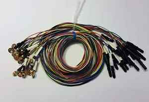 Eeg Gold Cup Electrodes 60 Inch Wire With 1 5in Din Plug Assorted Colors 20 pack