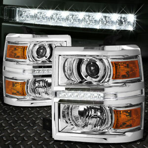 For 2014 2015 Chevy Silverado Chrome Amber Projector Headlight lamp W led Drl