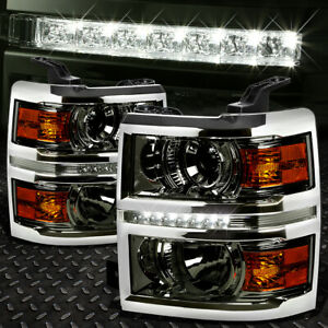 For 2014 2015 Chevy Silverado Smoked Amber Projector Headlight Lamp W Led Drl