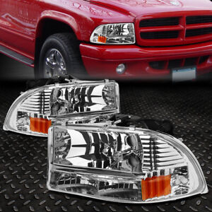 For 1997 2004 Dodge Dakota durango Chrome Housing Amber Side Headlight lamps Set