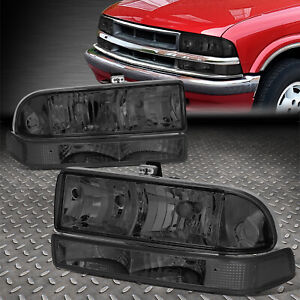 For 98 04 Chevy S10 Pickup Blazer Smoked Clear Corner Headlight Bumper Head Lamp