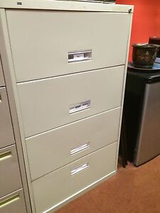 4 Drawer Beige Metal Filing Cabinet