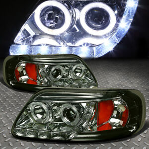 led Drl halo for 97 04 Ford F150 Smoked amber Corner Projector Headlight Lamps