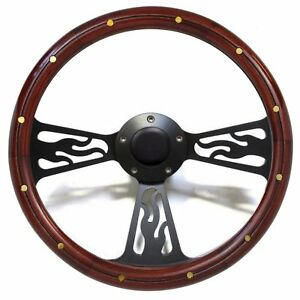 Hot Rod Street Rod Rat Rod Truck Wood Flamed Billet Steering Wheel Black Billet