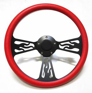 Hot Rod Street Rod Rat Rod Truck Red Black Flamed Billet Steering Wheel Horn