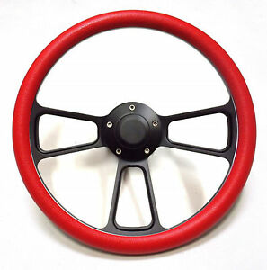 Hot Rod Street Rod Rat Rod Truck Red Pbk Black Billet Steering Wheel Horn