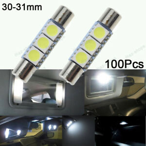 12v 100 Pcs 31mm 3smd Led For Car Sun Visor Vanity Mirror Light Festoon White
