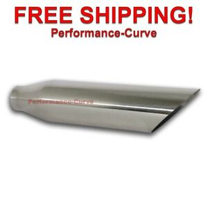 Stainless Steel Exhaust Tip Angle Cut 2 25 Inlet 4 Outlet 18 Long