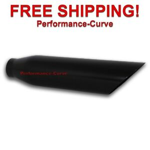 Black Stainless Steel Exhaust Tip 2 25 Inlet 4 Outlet 18 Long